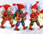 Julkort med glada barn