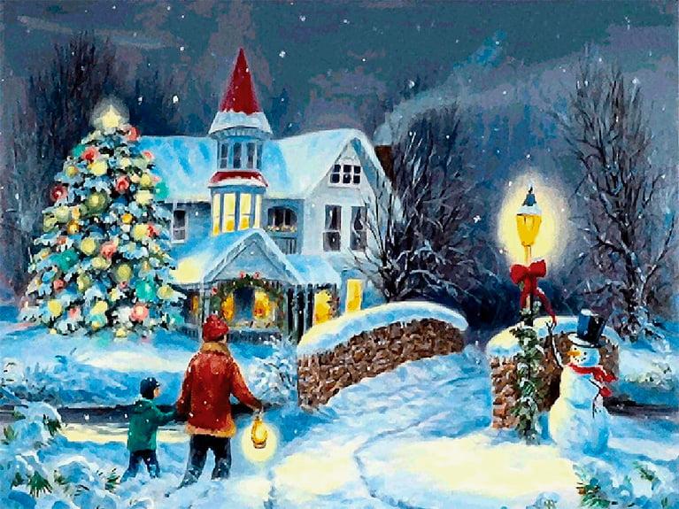 Målad Julkort med julgran
