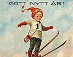 Pojke på skidor nyår
