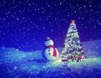 Snögubbe med julgran