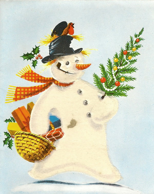Snögubben julkort i vintage stil