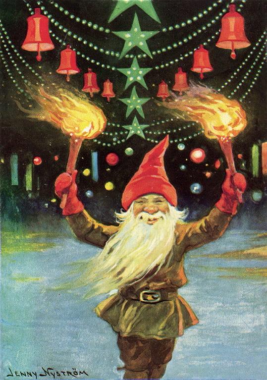 Tomte med facklor - Julkort
